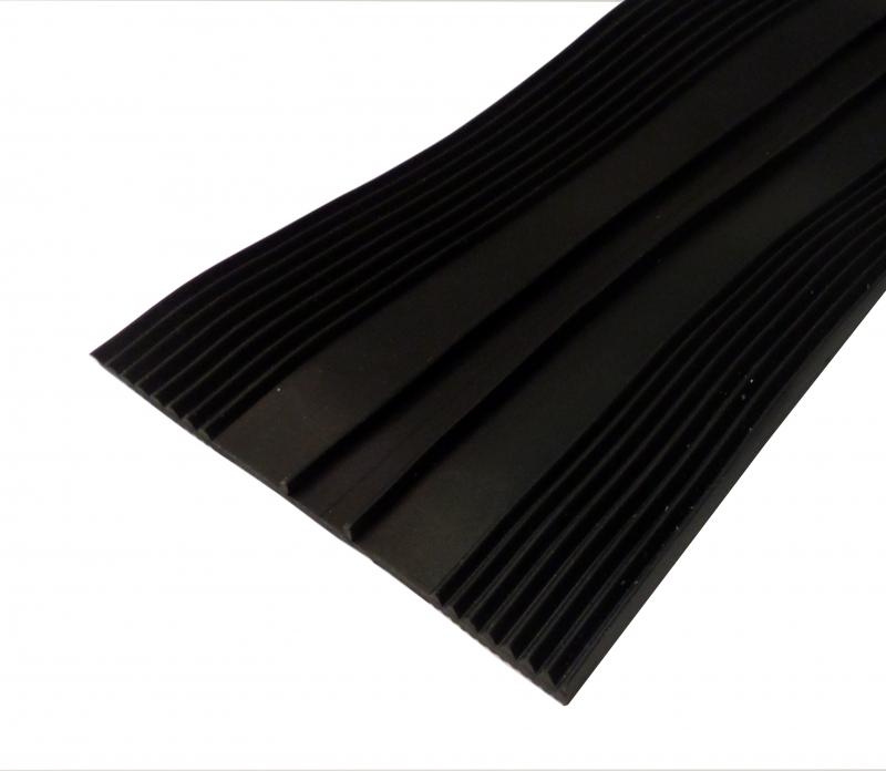 Rippenunterlegband 80mm, EPDM,  schwarz, 1 lfm