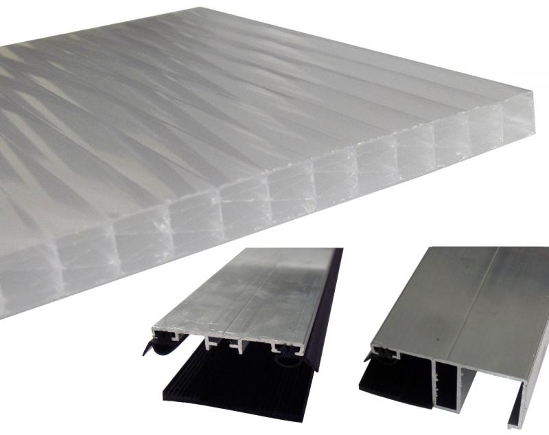 Bausatz Stegplatten 16mm B: 98cm opal Tiefe: 2.0m + Zubehör alu blank für Terrassenüberdachung