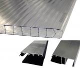 Bausatz Stegplatten 16mm B: 98cm klar/farblos Tiefe: 6.0m + Zubehör alu blank für Terrassenüberdachung