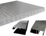 Bausatz Stegplatten 16mm B: 120cm opal Tiefe: 2.0m + Zubehör alu blank für Terrassenüberdachung