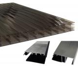 Bausatz Stegplatten 16mm B: 120cm bronze Tiefe: 3.0m + Zubehör alu blank für Terrassenüberdachung